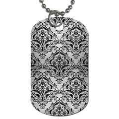 Damask1 Black Marble & Silver Brushed Metal (r) Dog Tag (one Side) by trendistuff