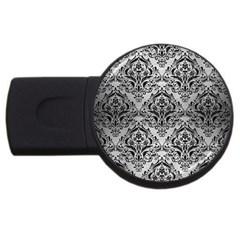 Damask1 Black Marble & Silver Brushed Metal (r) Usb Flash Drive Round (4 Gb) by trendistuff