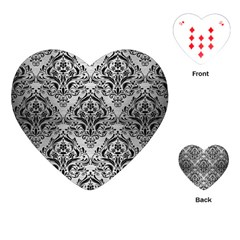 Damask1 Black Marble & Silver Brushed Metal (r) Playing Cards (heart) by trendistuff