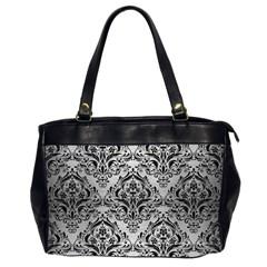 Damask1 Black Marble & Silver Brushed Metal (r) Oversize Office Handbag (2 Sides) by trendistuff
