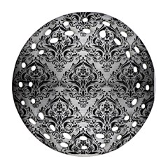 Damask1 Black Marble & Silver Brushed Metal (r) Ornament (round Filigree) by trendistuff