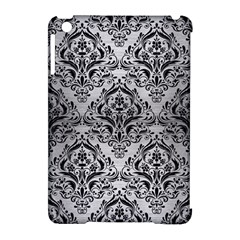 Damask1 Black Marble & Silver Brushed Metal (r) Apple Ipad Mini Hardshell Case (compatible With Smart Cover) by trendistuff