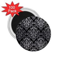 Damask1 Black Marble & Silver Brushed Metal 2 25  Magnet (100 Pack)  by trendistuff