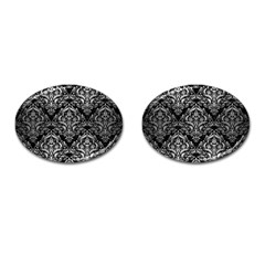 Damask1 Black Marble & Silver Brushed Metal Cufflinks (oval) by trendistuff