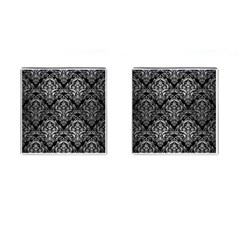 Damask1 Black Marble & Silver Brushed Metal Cufflinks (square) by trendistuff