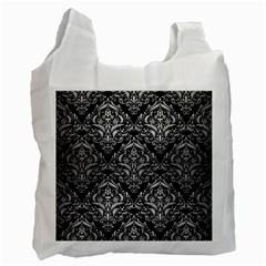 Damask1 Black Marble & Silver Brushed Metal Recycle Bag (one Side) by trendistuff