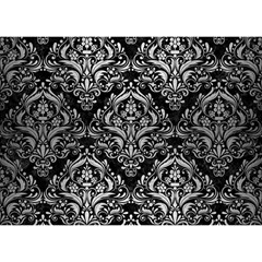 Damask1 Black Marble & Silver Brushed Metal Birthday Cake 3d Greeting Card (7x5) by trendistuff