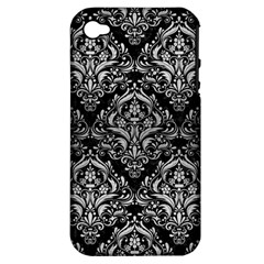 Damask1 Black Marble & Silver Brushed Metal Apple Iphone 4/4s Hardshell Case (pc+silicone) by trendistuff