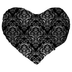 Damask1 Black Marble & Silver Brushed Metal Large 19  Premium Flano Heart Shape Cushion by trendistuff