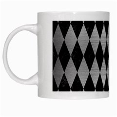 Diamond1 Black Marble & Silver Brushed Metal White Mug by trendistuff