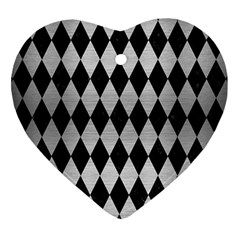 Diamond1 Black Marble & Silver Brushed Metal Heart Ornament (two Sides)