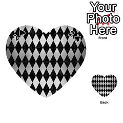 Diamond1 Black Marble & Silver Brushed Metal Playing Cards 54 (heart)
