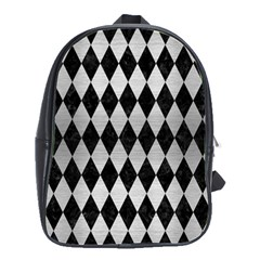 Diamond1 Black Marble & Silver Brushed Metal School Bag (large) by trendistuff