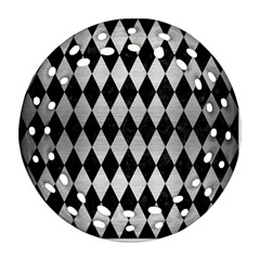 Diamond1 Black Marble & Silver Brushed Metal Round Filigree Ornament (two Sides) by trendistuff