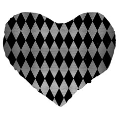 Diamond1 Black Marble & Silver Brushed Metal Large 19  Premium Flano Heart Shape Cushion by trendistuff