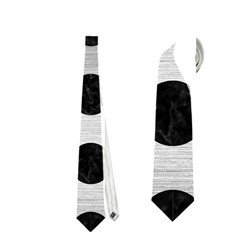 Circles2 Black Marble & Silver Brushed Metal (r) Necktie (one Side) by trendistuff