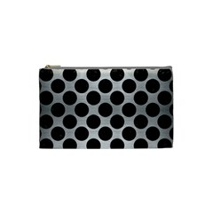 Circles2 Black Marble & Silver Brushed Metal (r) Cosmetic Bag (small) by trendistuff