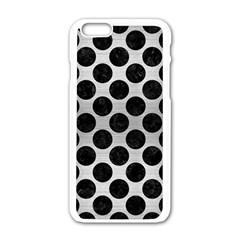Circles2 Black Marble & Silver Brushed Metal (r) Apple Iphone 6/6s White Enamel Case by trendistuff