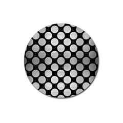 Circles2 Black Marble & Silver Brushed Metal Magnet 3  (round) by trendistuff