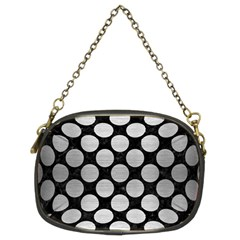 Circles2 Black Marble & Silver Brushed Metal Chain Purse (two Sides) by trendistuff