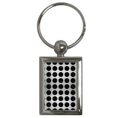 Circles1 Black Marble & Silver Brushed Metal (r) Key Chain (rectangle) by trendistuff