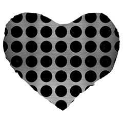 Circles1 Black Marble & Silver Brushed Metal (r) Large 19  Premium Flano Heart Shape Cushion by trendistuff