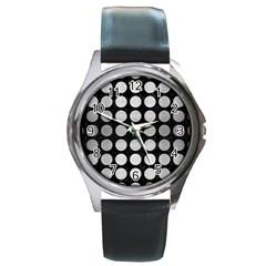 Circles1 Black Marble & Silver Brushed Metal Round Metal Watch by trendistuff