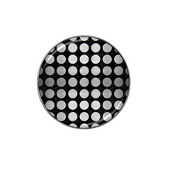 Circles1 Black Marble & Silver Brushed Metal Hat Clip Ball Marker by trendistuff