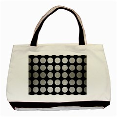 Circles1 Black Marble & Silver Brushed Metal Basic Tote Bag by trendistuff