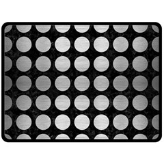 Circles1 Black Marble & Silver Brushed Metal Double Sided Fleece Blanket (large) by trendistuff