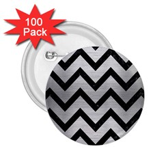 Chevron9 Black Marble & Silver Brushed Metal (r) 2 25  Button (100 Pack) by trendistuff