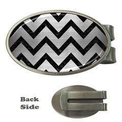 Chevron9 Black Marble & Silver Brushed Metal (r) Money Clip (oval) by trendistuff
