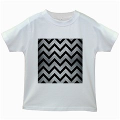 Chevron9 Black Marble & Silver Brushed Metal (r) Kids White T Shirt by trendistuff