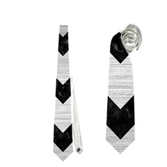Chevron9 Black Marble & Silver Brushed Metal (r) Necktie (two Side)