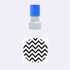 Chevron9 Black Marble & Silver Brushed Metal (r) Rubber Stamp Round (small)