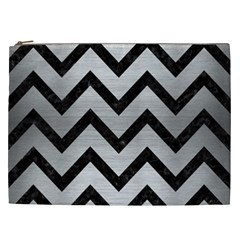 Chevron9 Black Marble & Silver Brushed Metal (r) Cosmetic Bag (xxl) by trendistuff