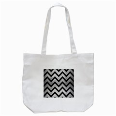 Chevron9 Black Marble & Silver Brushed Metal (r) Tote Bag (white) by trendistuff