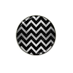 Chevron9 Black Marble & Silver Brushed Metal Hat Clip Ball Marker (4 Pack) by trendistuff