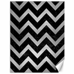 Chevron9 Black Marble & Silver Brushed Metal Canvas 36  X 48  by trendistuff