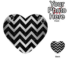 Chevron9 Black Marble & Silver Brushed Metal Playing Cards 54 (heart)