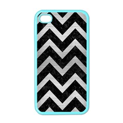 Chevron9 Black Marble & Silver Brushed Metal Apple Iphone 4 Case (color) by trendistuff