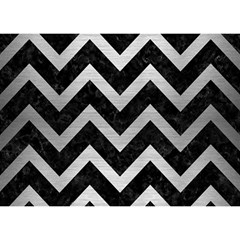 Chevron9 Black Marble & Silver Brushed Metal Birthday Cake 3d Greeting Card (7x5) by trendistuff