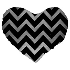 Chevron9 Black Marble & Silver Brushed Metal Large 19  Premium Heart Shape Cushion by trendistuff