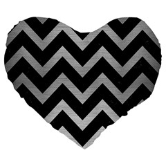 Chevron9 Black Marble & Silver Brushed Metal Large 19  Premium Flano Heart Shape Cushion by trendistuff