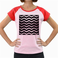 Chevron3 Black Marble & Silver Brushed Metal Women s Cap Sleeve T Shirt