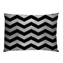 Chevron3 Black Marble & Silver Brushed Metal Pillow Case by trendistuff