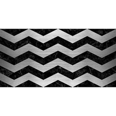 Chevron3 Black Marble & Silver Brushed Metal You Are Invited 3d Greeting Card (8x4)