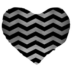 Chevron3 Black Marble & Silver Brushed Metal Large 19  Premium Heart Shape Cushion by trendistuff