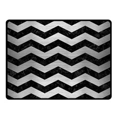 Chevron3 Black Marble & Silver Brushed Metal Double Sided Fleece Blanket (small) by trendistuff