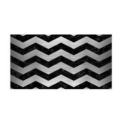 Chevron3 Black Marble & Silver Brushed Metal Satin Wrap by trendistuff
